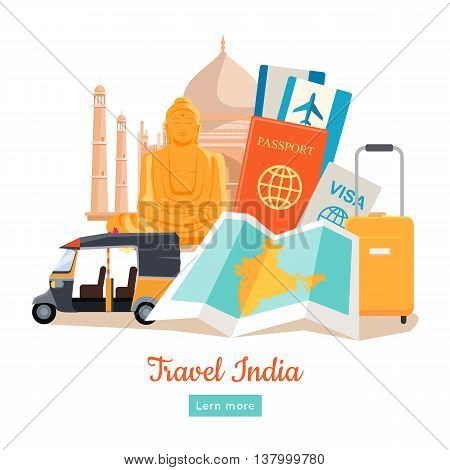 Travel India poster in flat style design. Discovering India Vector Design Template. Vacation journey to Indian attractive concept. Architecture, relics, transport, documents, suitcase illustration.