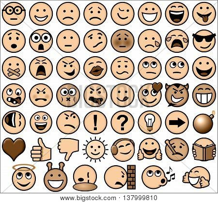 Vintage sepia retro style emoticon vector set