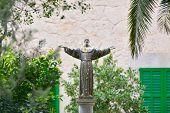 Постер, плакат: Statue Of Saint Francis Of Assisi Sanctuary De Nostra Senyora De Cura Puig De Randa Mallorca Bale