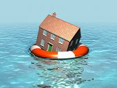 image of drowning  - A 3D render of a house in a lefebelt - JPG