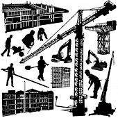 construction objects vector (crane -  worker - building - skimmer)