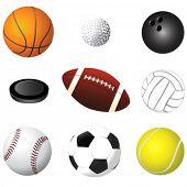 Постер, плакат: спортивные мячи деталь вектор