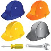 stock photo of hard_hat  - construction workers hard hat vector 2 - JPG