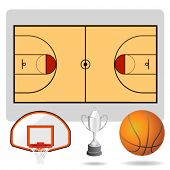 basketball field, ball and objects vector