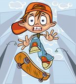 image of teenage boys  - The scared boy rides his skateboard thru the streets - JPG