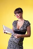 Beauty woman read smart book - pinup style