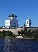 Trinity Cathedral And Bell-Tower In Pskov Kremlin. poster