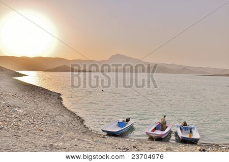 Boats on Lake Dokan, in Kurdistan Region, northern Iraq