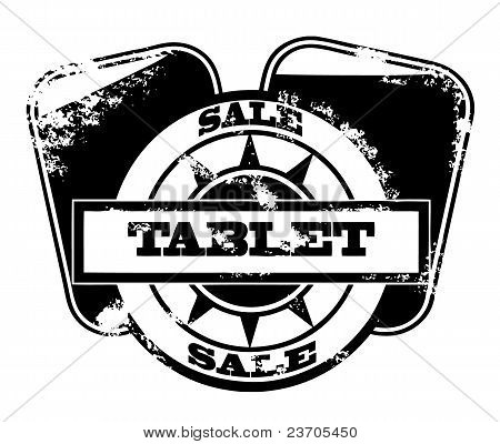 Tablet Pc Sale Stamp Isolated On White