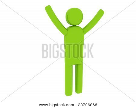 Green Man With Hands Up - Social Themes