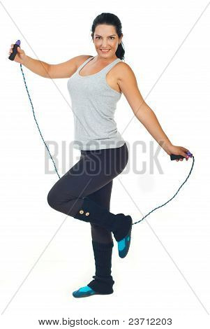 Happy Woman With Jump Rope