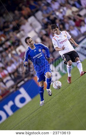 Valencia c.f. vs Chelsea soccer match - Footbal UEFA Champions League 2007-2008 October 3rd in Mestalla Stadium in Valencia City