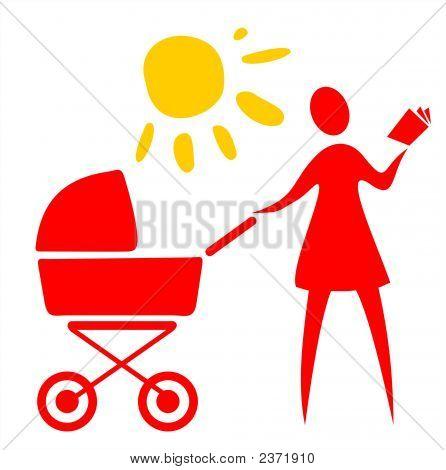 Mujer y carro de bebé