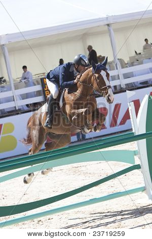 VALENCIA, SPAIN - MAY 8: Rider Diaz Vecino, Horse Baly Van Stapelvoorde, Spain in the Global Champions Tour Valencia 2010 equestrian - the City of Arts and Sciences of Valencia, Spain on May 8, 2010