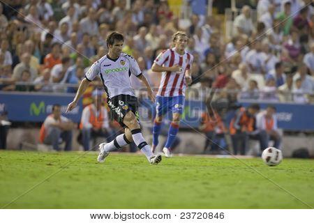 VALENCIA, SPAIN - SEPTEMBER 22 - FootBall Match of Spanish Professional Soccer League between Valencia C.F. vs AT. Madrid - Mestalla Luis Casanova Stadium - Albelda - Spain on September 22, 2010