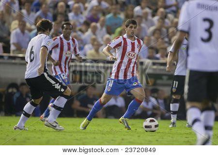 VALENCIA, SPAIN - SEPTEMBER 22 - FootBall Match of Spanish Professional Soccer League between Valencia C.F. vs AT. Madrid - Mestalla Luis Casanova Stadium - Fran Merida - Spain on September 22, 2010