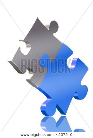 Balancing Blue And Silver Puzzle Pieces