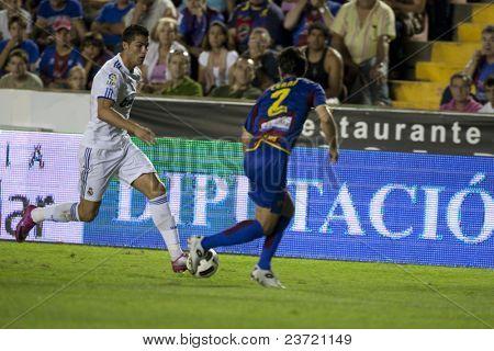 VALENCIA, SPAIN - SEPTEMBER 25:Spanish Professional Soccer League, Levante U.D. vs Real Madrid - Ciudad de Valencia Stadium - Cristiano Ronaldo - Spain on September 25, 2010 in Valencia.