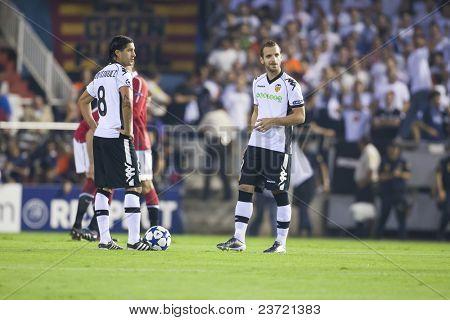 VALENCIA, SPAIN - SEPTEMBER 29: UEFA Champions League, Valencia C.F. vs Manchester United, Mestalla Stadium, Dominguez, Soldado, Spain on September 29, 2010