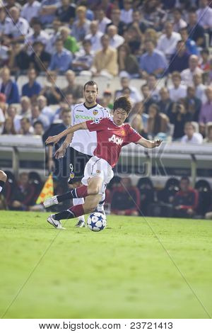 VALENCIA, SPAIN - SEPTEMBER 29: UEFA Champions League, Valencia C.F. vs Manchester United, Mestalla Stadium, Park Ji-Sung, Spain on September 29, 2010