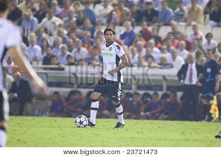VALENCIA, SPAIN - SEPTEMBER 29, UEFA Champions League, Valencia C.F. vs Manchester United, Mestalla Stadium, Dominguez, on September 29, 2010 in Valencia, Spain