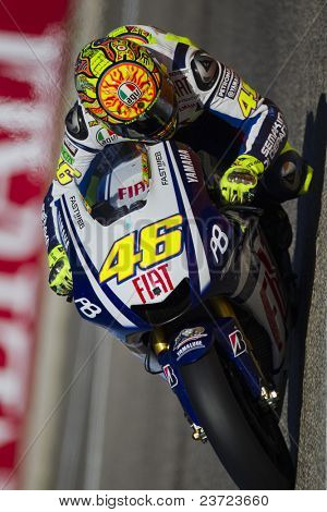 VALENCIA, SPAIN - NOVEMBER 6: Valentino Rossi in motogp Grand Prix of the Comunitat Valenciana, Ricardo Tormo Circuit of Cheste, Spain on november 6, 2010