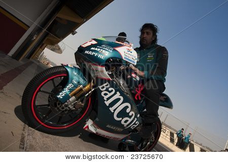 VALENCIA, SPAIN - FEBRUARY 10: - Moto2 and 125cc Test - Nico Terol motorbike - on February 10, 2011 in Cheste, Valencia, Spain