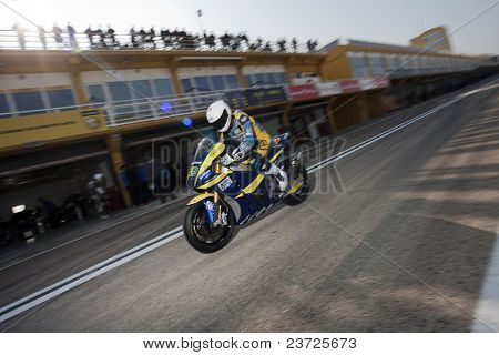 VALENCIA, SPAIN - FEBRUARY 10: - Moto2 and 125cc Test - Valentine Debise - on February 10, 2011 in Cheste, Valencia, Spain
