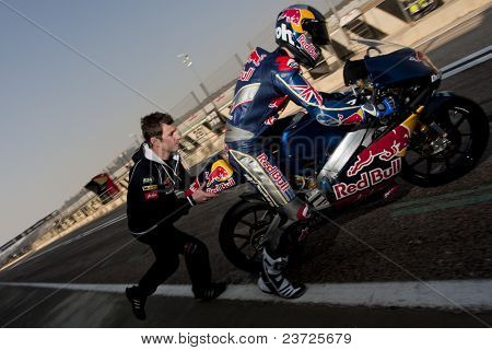 VALENCIA, SPAIN - FEBRUARY 10: - Moto2 and 125cc Test - Dani Kent - on February 10, 2011 in Cheste, Valencia, Spain