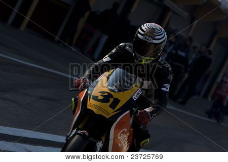 VALENCIA, SPAIN - FEBRUARY 10: - Moto2 and 125cc Test - Carmelo - on February 10, 2011 in Cheste, Valencia, Spain