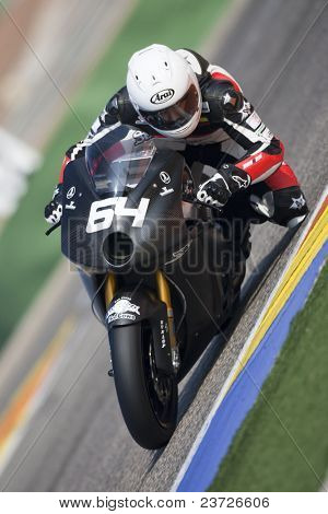 VALENCIA, SPAIN - FEBRUARY 11: Participant in the Moto2 and 125cc Test - Santi Hernandez - on February 11, 2011 in Cheste, Valencia, Spain
