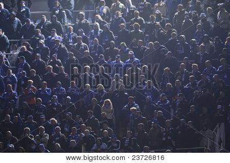 VALENCIA, SPAIN - FEBRUARY 15 - Schalke 04 supporters in the UEFA Champions League between Valencia C.F. vs Schalke 04 - Mestalla Luis Casanova Stadium - Spain on February 15, 2011