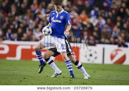 VALENCIA, SPAIN - FEBRUARY 15 - #25 Huntelaar in the UEFA Champions League between Valencia C.F. vs Schalke 04 - Mestalla Luis Casanova Stadium - Spain on February 15, 2011