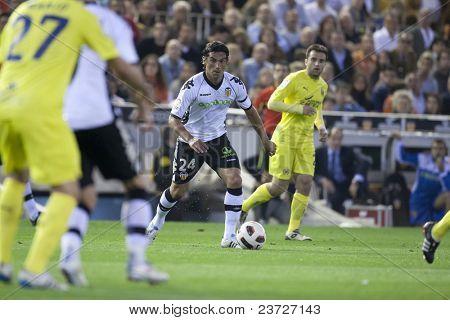 VALENCIA, SPAIN - APRIL 10 - Tino Costa in the Spanish Soccer League between Valencia c.f.. vs Villarreal c.f. - Mestalla Luis Casanova Stadium - Spain on April 10, 2011