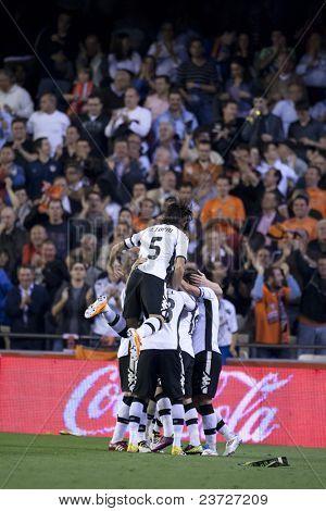 VALENCIA, SPAIN - APRIL 10 - Valencia Team in the Spanish Soccer League between Valencia c.f.. vs Villarreal c.f. - Mestalla Luis Casanova Stadium - Spain on April 10, 2011