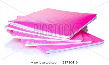 pink notebook isolated on white