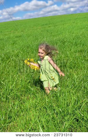 The girl ran across the field