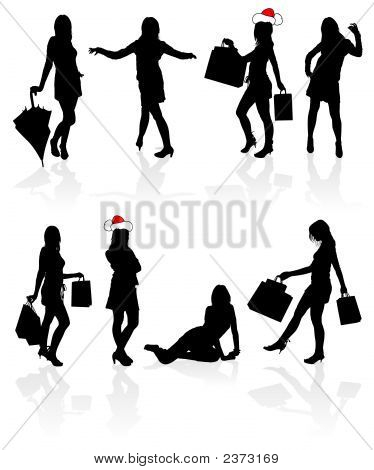 Vector Silhouettes Girls