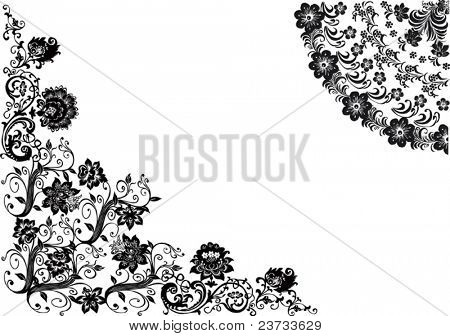 illustration with floral decorated corner and quadrant
