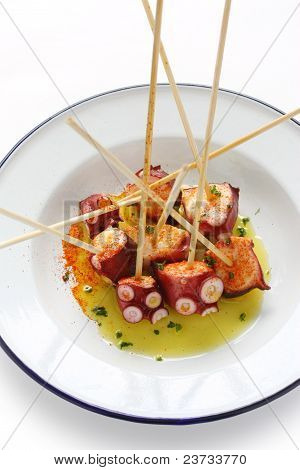 octopus galician style (pulpo a la gallega) , spanish tapas dish