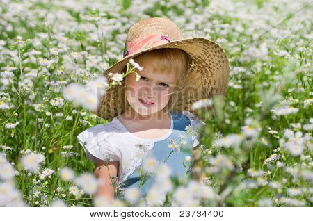 A girl among the flowers