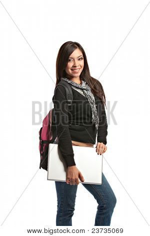 Casual Dressed High School Student Holding Laptop Smiling on Isolated Background