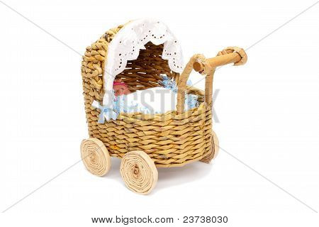Paper doll stroller with isolated on white
