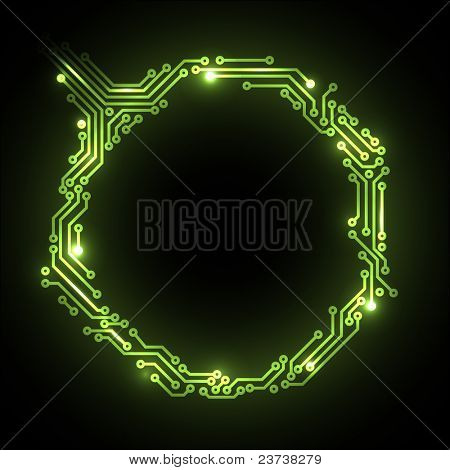 Vector abstract green circuit board background with place for your content