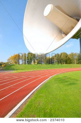 Outdoor Racetrack For Runners, With Close-Up Of The Speaker