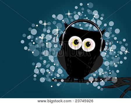 Owl with headphones