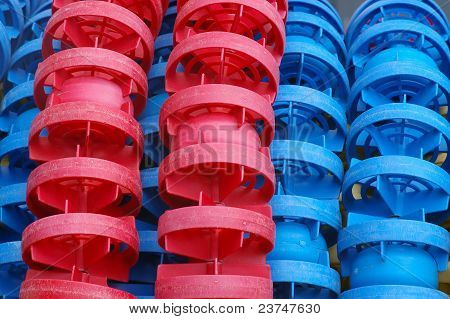 red and blue floaters