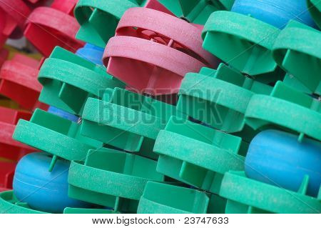 closeup of swimming pool floaters