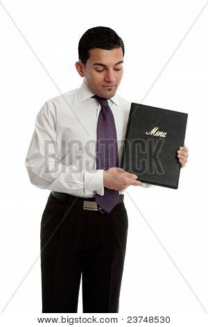 Professional Businessman Or Waiter With A Black Folder