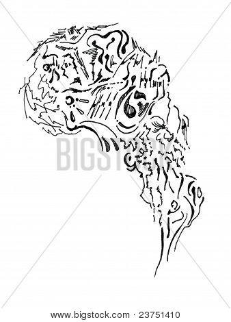 Graphic fantasy non human head